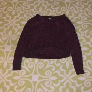 Velvet long sleeve crop top